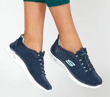 Skechers Women's Shoes Navy Memory Foam  Slip On Sport Casual bungee Lace 12825