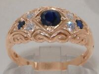 Solid 9ct Rose Gold Natural Sapphire & Diamond Vintage Style Band Ring