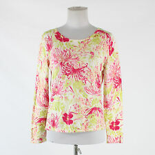 White pink green floral cotton blend TALBOTS long sleeve stretch knit blouse PS