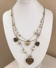 Betsey Johnson Rhinestone Pearl Leopard Animal Print Heart Necklace Gold Tone