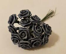 "144pcs Darice Denim Steel Blue Satin Ribbon Roses Flowers 12mm 1/2"" on Wire Stem"