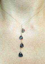7ct London blue Topaz Trillion cut 6mm-8mm drops solid 14k gold pendant necklace