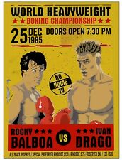 Vintage Metal Plaque Rocky Movie Fight Advertising Poster Wall Sign Pub Gym Shed