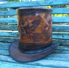 NEW SKULL ETCHED STEAMPUNK / COSPLAY / GOTH TOP HAT SNAKE PRINT LEATHER FRAME
