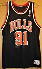 CHICAGO BULLS DENNIS RODMAN BLACK NBA JERSEY BY CHAMPION IN SIZE 48