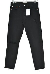 Womens Levis WEDGIE ICON High Rise Black PREMIUM Stretch Jeans Large Size 10 W29
