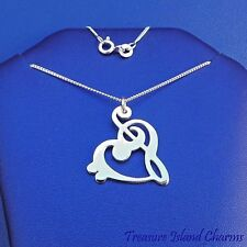 "BASS AND TREBLE CLEF HEART MUSIC Pendant 925 Sterling Silver Necklace 16"" or 18"""