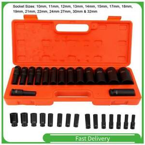 """Schlagschraubernüsse 1/2"""" Set 10-32mm Steckschlüssel Nuss Nüsse Kohlenstoffstahl"""