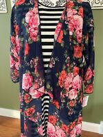 LulaRoe Shirley Kimono M Medium NWT Navy Blue Pink Rose Roses Floral