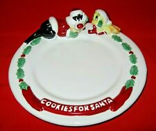 Vintage CHRISTMAS COOKIES FOR SANTA PLATE - SYLVESTER & TWEETY BIRD - 1996