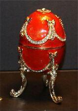 Jeweled Enameled Collectible Replica Xmas Red Egg Jeweled Musical