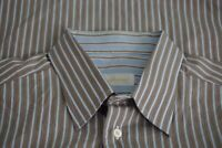 Brioni Brown Blue Striped 100% Cotton Long Sleeved Button Up Shirt Sz XL Italy