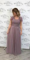Chiffon Bridesmaid Ballgown Wedding Prom A-Line Long Maxi Dress Evening Party UK