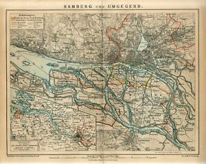 1882 GERMANY HAMBURG CITY PLAN and SUBURBS Antique Map