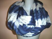 "CALVIN KLEIN INFINITY Tie Dye Watercolor Scarf Shawl Viscose Blue White 78 x 42"""