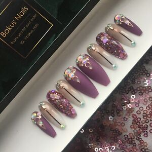 Hand Painted False Nails Berry Purples French Ombre Rose Gold Glitter Coffin Tip