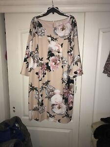 NWT sz 24w Calvin Klein floral Sheath Dress  Bell Sleeves Lined