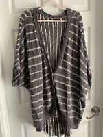 Large Free People Chunky Knit Gray Cardigan Sweater Slouchy Loose Top Shirt