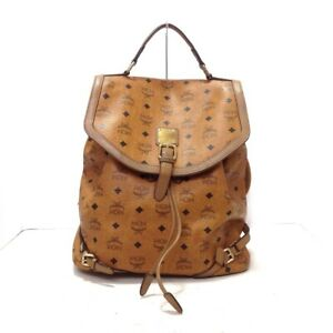 Auth MCM Brown Black Synthetic Leather Backpack