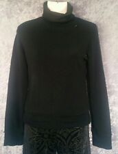 I.D.S Jumper - Black Turtleneck Sweater Cuffed Long Sleeve Button Knit - M/10/12