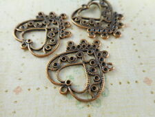 20 Antique Copper Plated 5 to 1 Loop Heart Connectors 35740