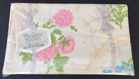 NIP Vintage WAMSUTTA Supercale Floral Twin Flat Sheet Pink Yellow Roses