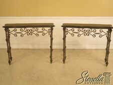41829E/41830E: Pair Marble Top Iron Base Decorative Console Tables