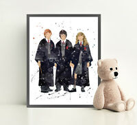 HARRY POTTER Print Poster Watercolor Framed Canvas Wall Art Nursery RON HERMIONE