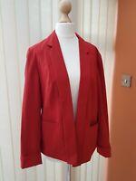 Women's Classic Blazer Jacket From Primark Atmosphere Open Front Dark Red Uk10