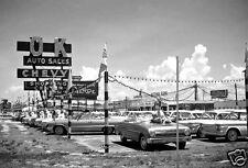 "5x7"" photo O.K. CHEVY AUTO SALES CAR LOT EARLY 60's IMPALLA SS RAGTOP CORVAIR"