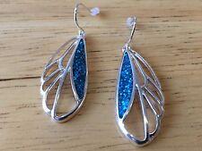 Silver Tone Earrings Fashion Jewelry Blue Glitter Dragonfly Wings Drop Dangle