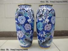 """15"""" Copper cloisonne Palace Wealth riches and honour Flowers and birds Vase Pair"""