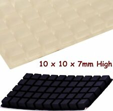 3M RUBBER FEET Stoppers, Sticky Bumpons Squares, 10x10x7mm Thick, CLEAR or BLACK