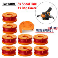 NEW For Worx Spool Line String Trimmer Edger WA0010 WA0007 8 Pack Replacement US