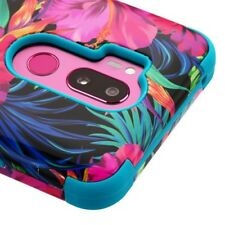 FOR LG G7 THINQ COLORFUL HIBISCUS FLOWER TUFF SHOCK 3-PIECE RUBBER CASE COVER