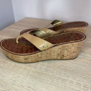Sam Edelman Women's Size 9.5 Nude Patent Leather Wedge Sandals Tanya