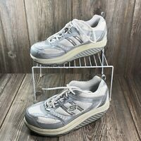 Skechers Womens Shape Ups 11814 Silver White Walking Shoes Lace Up Sz 8.5