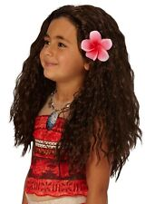 Girls Disney Moana Brown Wavy Hawaiian Fancy Dress Costume Outfit Wig Hair