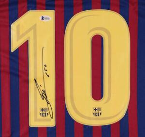 "Lionel Messi ""LEO"" FC Barcelona NIKE hand signed jersey BECKETT cert"