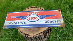 OLD VINTAGE HUMBLE AVIATION GASOLINE MOTOR OIL PORCELAIN ENAMEL GAS STATION SIGN