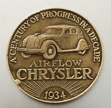 1934 Century Of Progress CHRYSLER AIR FLOW Brass Token; Great Automotive Images