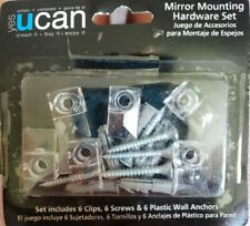 6PC Transparent Mirror Wall Mounting Kit Set Clear Clips/Brackets Screws Anchors