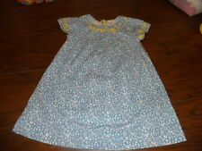 MINI BODEN 3-4 BLUE FLORAL DRESS YELLOW EMBROIDERY