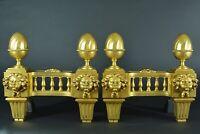 Ancien Chenet Feu Louis XVI Bronze Doré tête de Borée Vent Thrace Grec R. Osmond