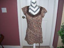 Ladies long tee shirt with belt by Self Esteem in size medium, brown and orange.