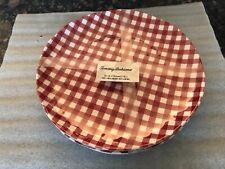 New listing Tommy Bahama Melamine Dinner Plates Red White Gingham Set of 4 Plaid-New-10 7/8�