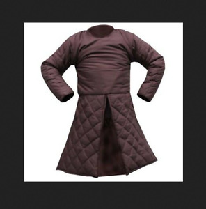 Halloween Gift Medieval Renaissance Full Sleeves Gambeson in Brown SCA-LARP