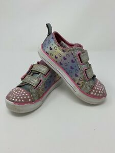 🌟 SKECHERS Size 10 Twinkle Toes Light Up Girls Shoes Silver Pink Rainbow Hearts