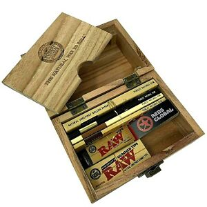 RAW Wooden Deluxe Rolling Storage Box Gift Set Classic Smoking Papers