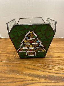 CANDLE HOLDER Stained Glass CHRISTMAS TREE Mosaic Studio Nova Beveled